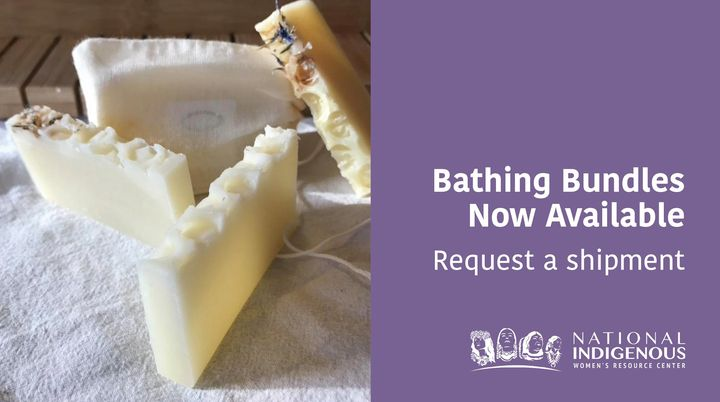 """Stack of soap bars on right with purple color block on left with text """"Bathing Bundles Now Available, Request a shipment"""" with white NIWRC logo in bottom right corner."""